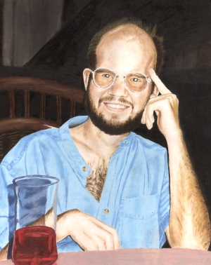 painting from a photo of Andy after supper at his father and step-mother's house, Jan. 1997