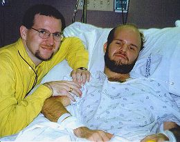 Andy and me, shortly after leaving the ICU at Emory, mid Dec. 1996